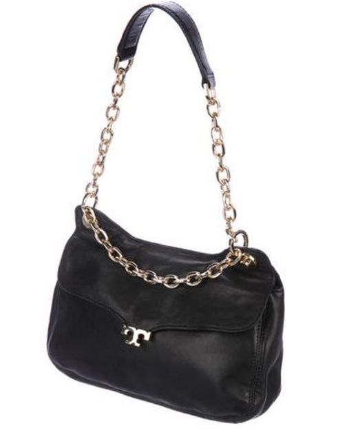 0884e06052e9 ... Tory Burch - Metallic Leather Shoulder Bag Black - Lyst ...