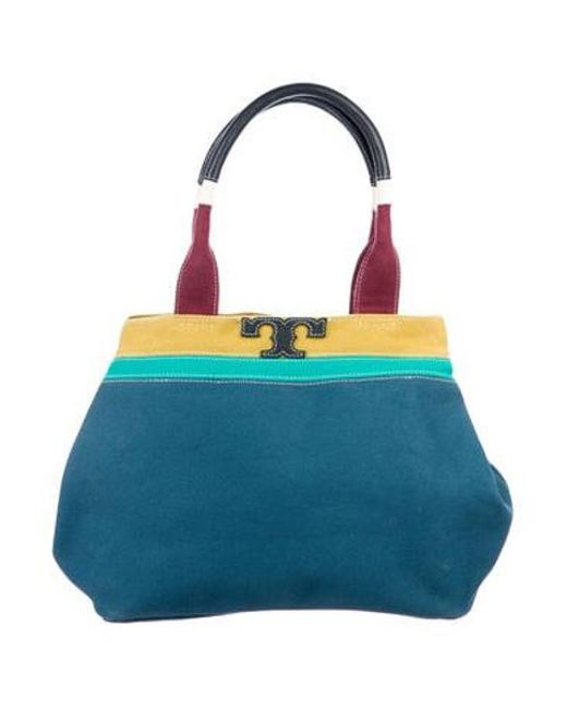 96a2f8ead22 Tory Burch - Blue T Serif Mini Canvas Shoulder Bag - Lyst ...