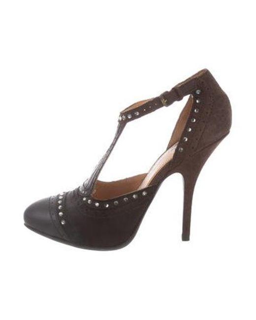 7a6a7ef4502 Lanvin - Black Embellished Ankle Strap Pumps - Lyst ...