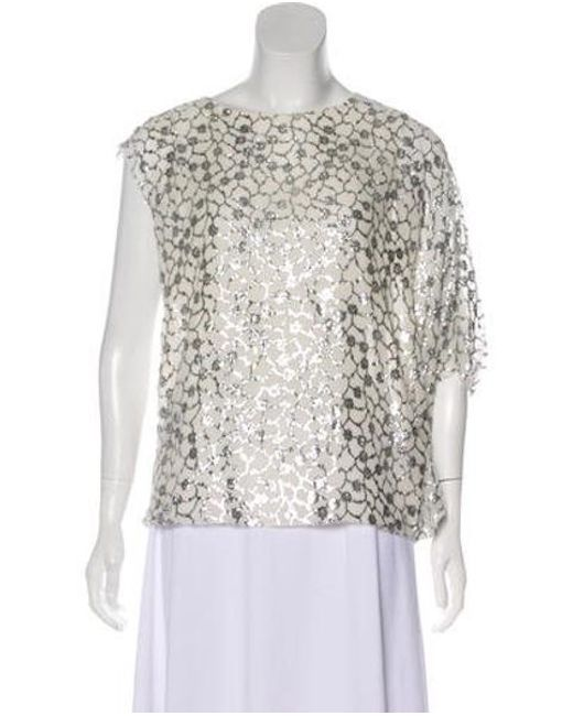 Ports 1961 - Metallic Silk Embroidered Blouse Silver - Lyst
