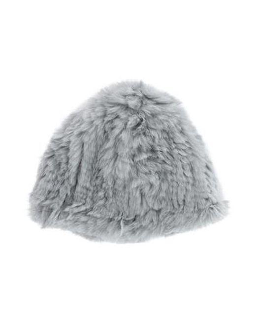 Adrienne Landau - Gray Knit Fur Hat Grey - Lyst ... 3a2cea54001d