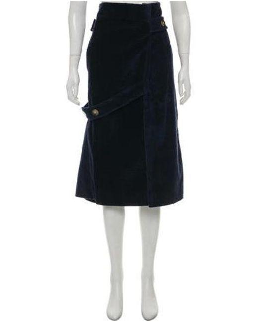 4243df7682 Victoria Beckham - Blue Corduroy Midi Skirt Navy - Lyst ...