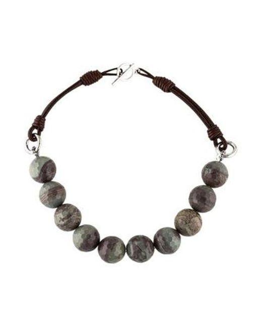 Brunello Cucinelli - Metallic Agate & Leather Bead Strand Necklace Silver - Lyst