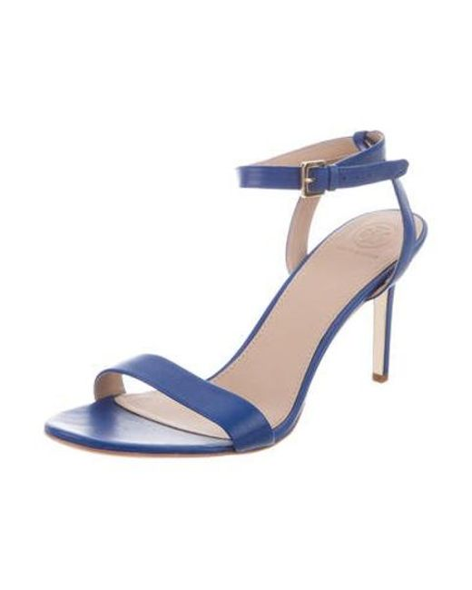 c59ceb85001 ... Tory Burch - Blue Leather Ankle-strap Sandals - Lyst ...