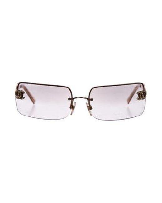 0536ca90154 Chanel - Metallic Strass Cc Sunglasses Gold - Lyst ...
