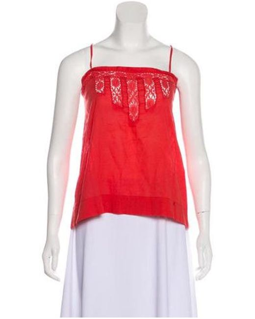 e253fc2f5b0d0 Étoile Isabel Marant - Red Sleeveless Square-neck Top - Lyst ...