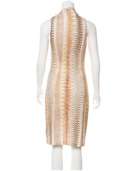 95c56734d44 ... Roberto Cavalli - Natural Animal Print Midi Dress Tan - Lyst