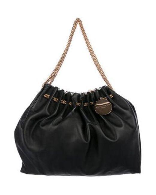 b3a91b97f755 Stella McCartney - Metallic Vegan Leather Shoulder Bag Black - Lyst ...