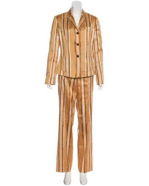 Etro - Natural Silk Striped Pantsuit Tan - Lyst