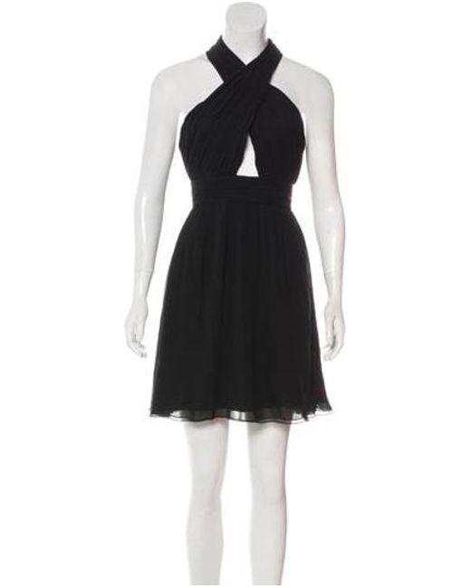 Lyst Alice Olivia Knee Length Silk Dress In Black