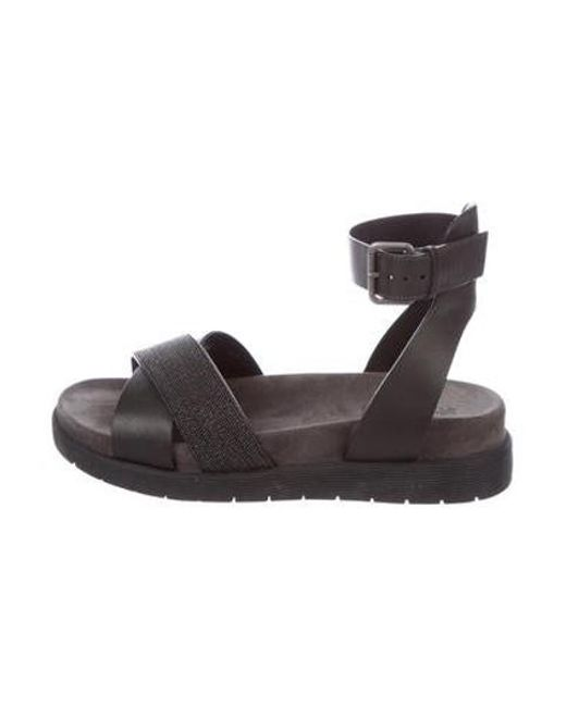 3d51de8ecb2 Brunello Cucinelli - Gray Monili Leather Sandals Grey - Lyst ...