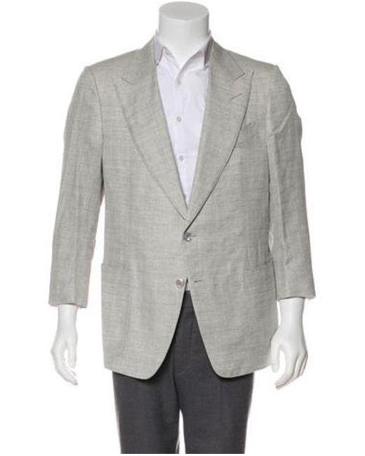 68c7054337 Tom Ford - Gray Silk   Linen Blazer Grey for Men - Lyst ...