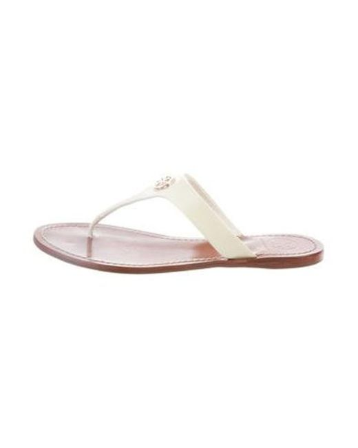 4ffbe8b729991d Tory Burch - Metallic Thong Slide Sandals White - Lyst ...