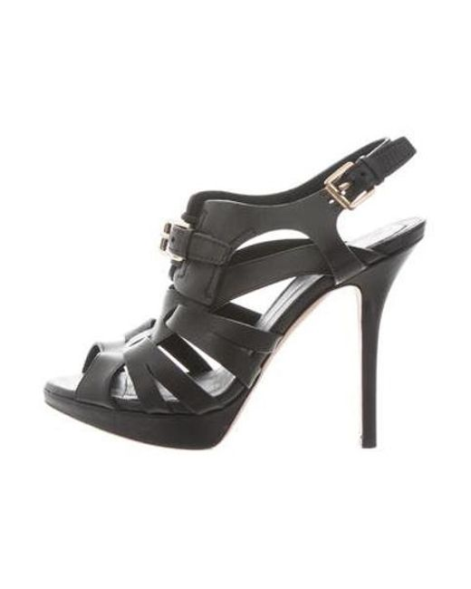37ad11ab7a8 Dior - Black Ankle Strap Leather Sandals - Lyst ...