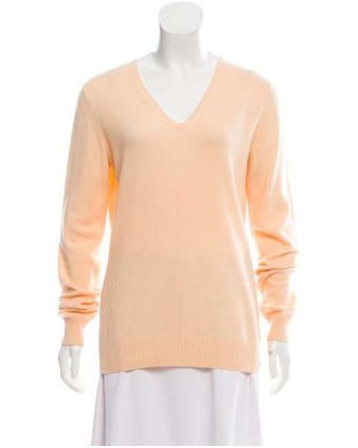 0035a14a0 Lyst - Loro Piana Cashmere V-neck Sweater Orange in Orange
