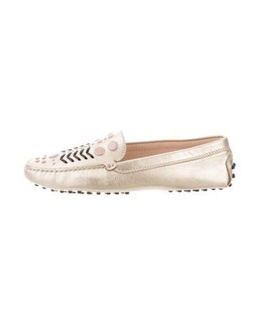 0485231cc7a Tod s - Metallic Embellished Loafers - Lyst ...
