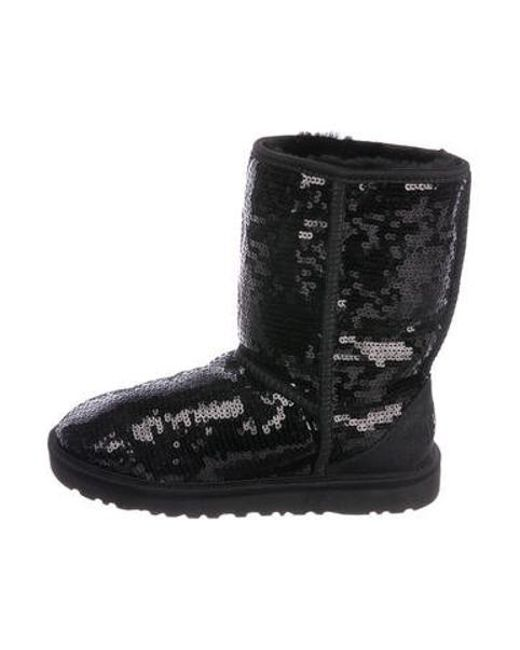 Ugg - Black Sequined Ankle Boots - Lyst ...