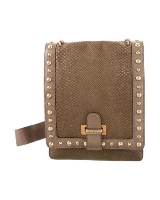 c838def77ef7 Ferragamo - Metallic Studded Snakeskin Crossbody Bag Green - Lyst ...