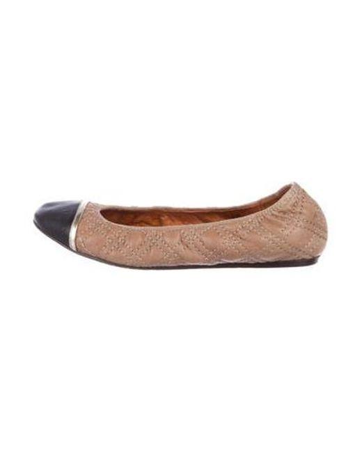b95fe2116a5 Lanvin - Metallic Quilted Cap-toe Flats Black - Lyst ...