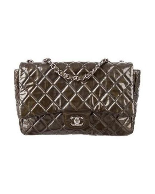4a6325e9759d9d Chanel - Metallic Quilted Classic Jumbo Single Flap Bag Olive - Lyst ...