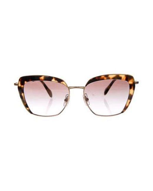 56f23e677 Miu Miu - Metallic Miu Gradient Cat-eye Sunglasses Brown - Lyst ...