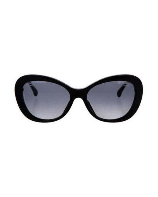 7b3e22e9aef Chanel - Black Cc Cat-eye Sunglasses - Lyst ...