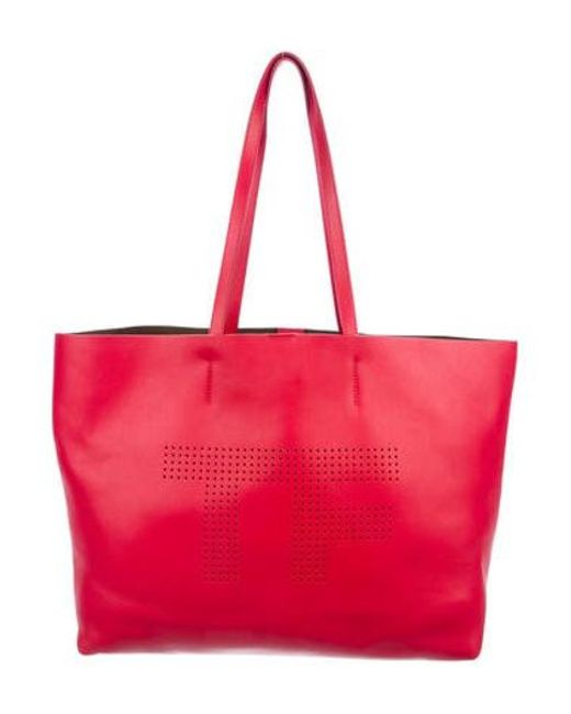 a27aea0bf96ce Tom Ford - Metallic Perforated Logo Tote Red - Lyst ...