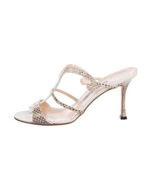 685d97bb9be9 Manolo Blahnik - Natural Snakeskin Slide Sandals Tan - Lyst ...
