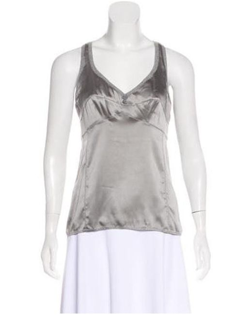 Brunello Cucinelli - Gray Sleeveless Silk Top Grey - Lyst