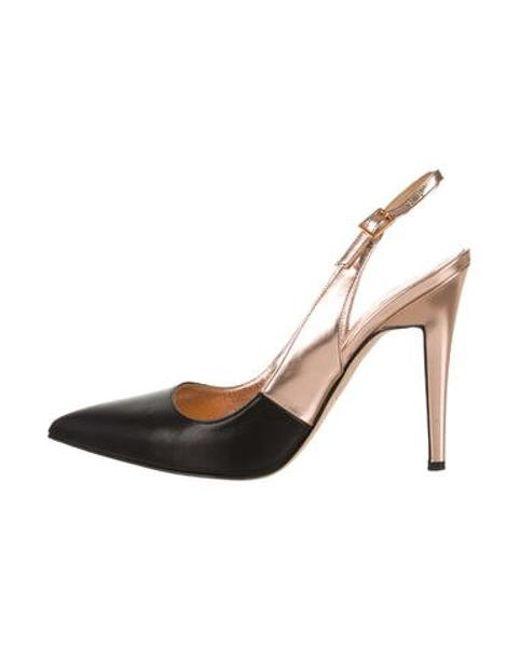 877c44aaae8 Kate Spade - Metallic Leather Pointed-toe Slingbacks Black - Lyst ...