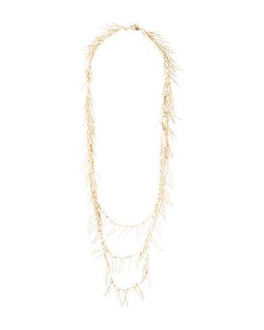 Fallon - Metallic Fringe Multistrand Necklace Gold - Lyst