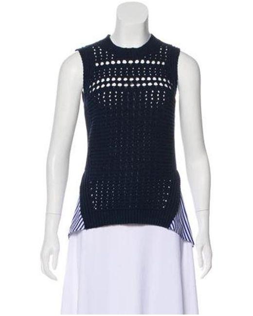 63229b6a57f94 Veronica Beard - Blue Sheer Sleeveless Sweater Navy - Lyst ...