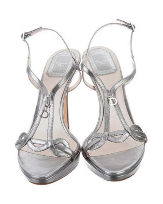 393bca1febe ... Dior - Metallic Ankle Strap Sandals - Lyst ...