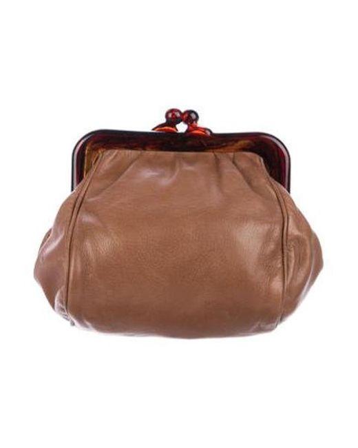 6d1e8911e4 Bottega Veneta - Metallic Leather Frame Clutch Tan - Lyst ...