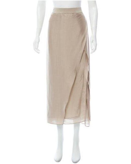 788adabd5 Brunello Cucinelli - Natural Silk Midi Skirt Khaki - Lyst ...