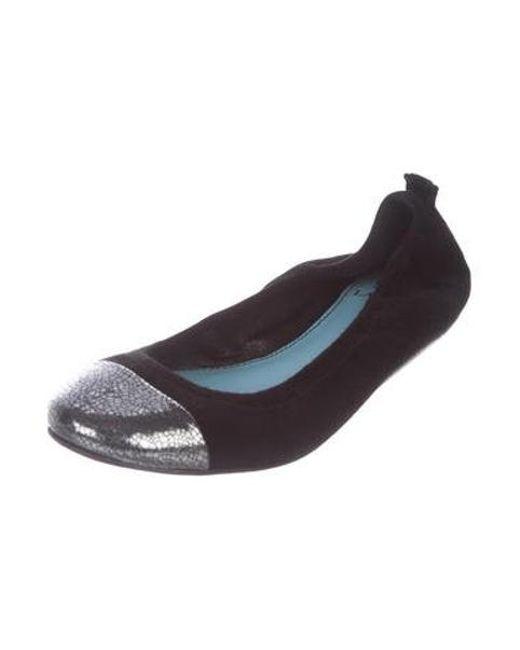d2e587aa3ea ... Lanvin - Black Suede Cap-toe Flats - Lyst ...
