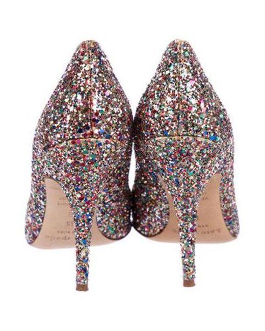 7439614197de ... Kate Spade - Metallic Glitter Pointed-toe Pumps Gold - Lyst