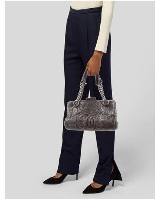 023f6d43ac46 ... Chanel - Metallic Python Perfect Day Bag Silver - Lyst ...