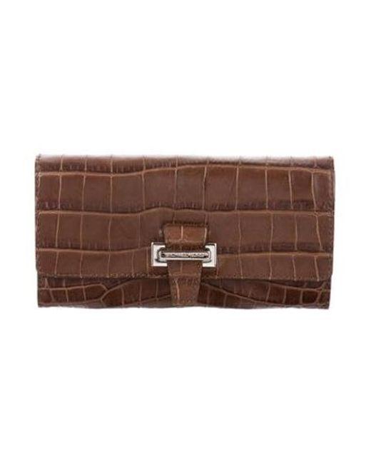 713ac4b1f1df Michael Kors - Metallic Embossed Leather Flap Wallet Brown - Lyst ...