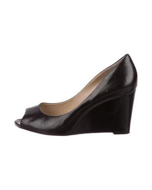 64d189feff29 Michael Kors - Metallic Leather Pee-toe Wedges Black - Lyst ...