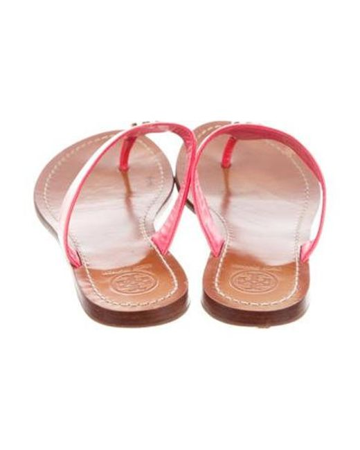 d531fd5ec4724 ... Tory Burch - Metallic Patent Leather Sandals Pink - Lyst