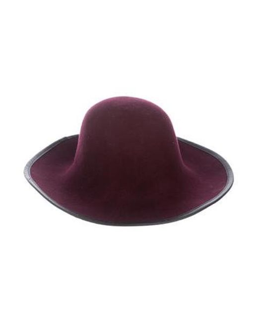 8632cdb1e7fa9 Sandro - Black Felt Leather-trimmed Hat - Lyst ...