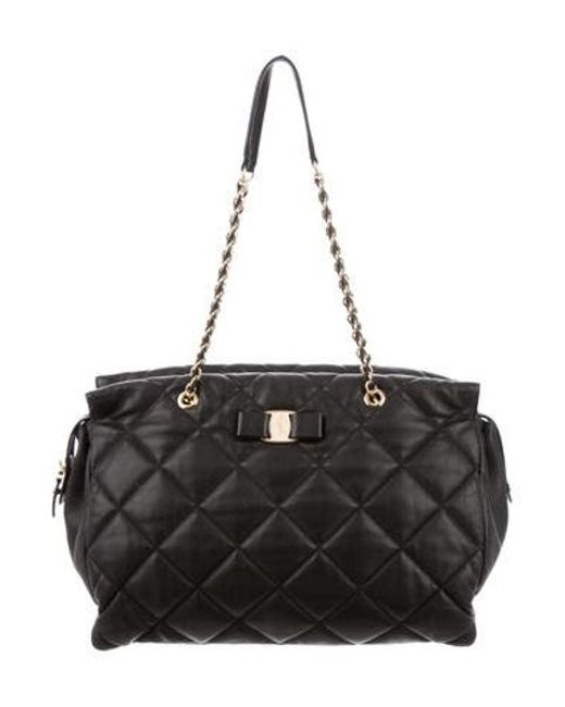 fb68e6b80cd Ferragamo - Metallic Quilted Vara Bag Black - Lyst ...