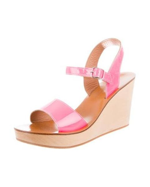 f7adfa33d9d ... K. Jacques - Pink Patent Leather Wedge Sandals - Lyst ...
