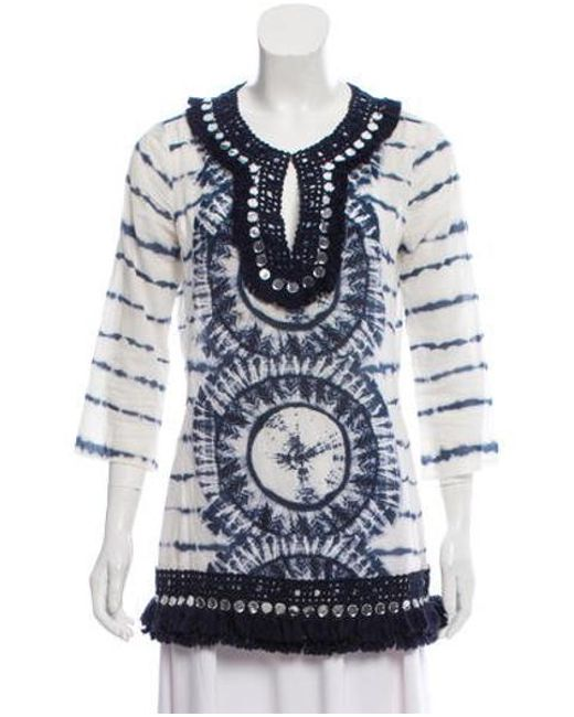 c46205c9bcaf3 Lyst tory burch embellished tunic top navy in blue jpeg 520x650 Tory burch  sleeveless beaded tunic