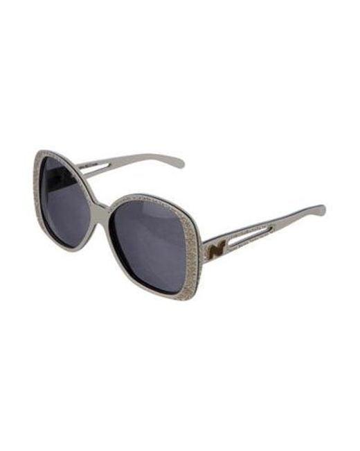 b2b8df32538 ... Nina Ricci - Metallic Crystal-trimmed Oversize Sunglasses White - Lyst  ...