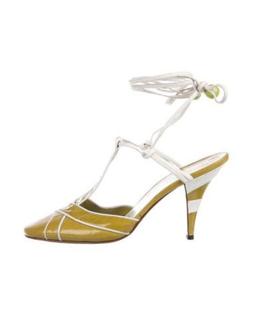 aa365cfd30b Chanel - Green Leather Ankle Strap Pumps - Lyst ...