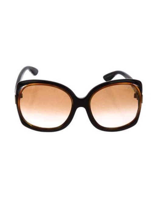 60ac9bb4d48 Tom Ford - Metallic Jaquelin Oversize Sunglasses Black - Lyst ...