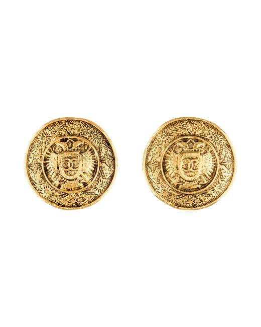 Chanel   Metallic Large Cc Medallion Earrings Gold   Lyst