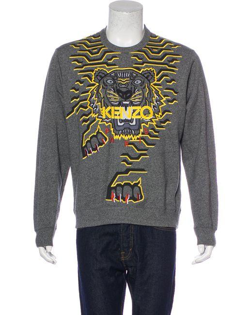 8c5dea6dd KENZO - Gray Tiger Embroidered Sweatshirt Grey for Men - Lyst ...